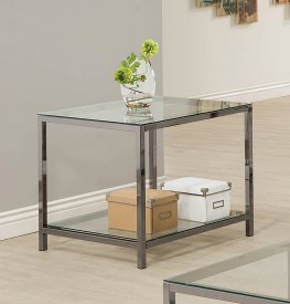 Contemporary Black Nickel Side Table