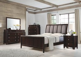 Madison Merlot and Taupe Grey Eastern King Bed