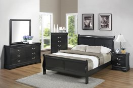 Louis Philippe Traditional Black Full Bed