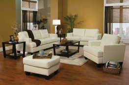 Samuel Transitional White Sofa & Love