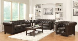 Roy Traditional Brown Sofa & Love
