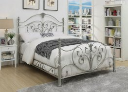 Evita Silver Metal Scrollwork Full Bed