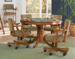 Mitchell 3-In-1 Amber Game Table & 4 Arm Chairs