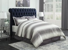 Gresham Navy Blue Upholstered Queen Bed
