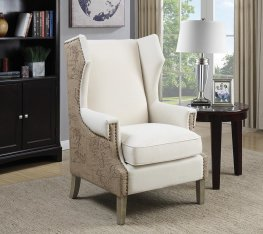 Cream Accent Chair with Vintage Print