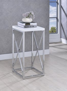 Glossy White and Chrome Accent Table