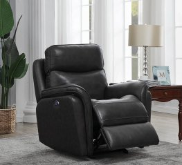 Charcoal Pillow Top Power3 Glider Recliner