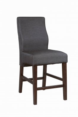 Transitional Black Upholstered Counter-Height Stool