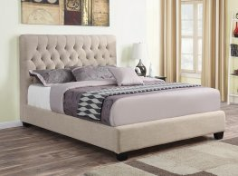 Chloe Oatmeal Upholstered Twin Bed