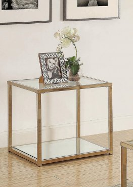 Calantha Modern Chocolate Chrome End Table