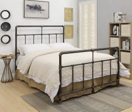 Silas Antique Brass Metal King Bed
