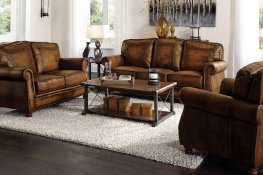 Montbrook Traditional Brown Sofa & Love
