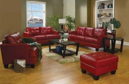 Samuel Transitional Red Sofa & Love