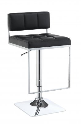 100194 - Contemporary Black Adjustable Bar Stool