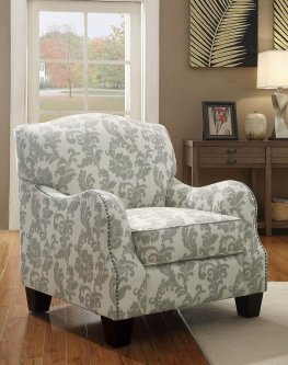 Traditional White and Grey Accent Chair