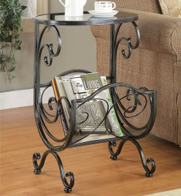 Traditional Metal and Glass Accent Table