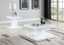 Contemporary White End Table With Swiveling Top