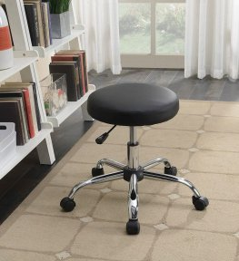 Contemporary Black Faux Leather Office Stool