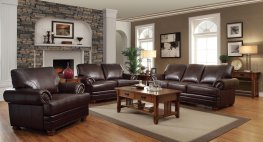 Colton Brown Leather Sofa & Love
