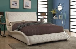 Tully White Upholstered Queen Bed
