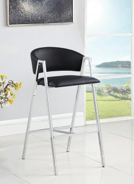 Contemporary Black and Chrome Bar-Height Stool