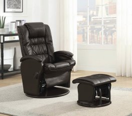 Brown Reclining Glider With & Ottoman