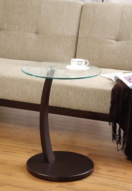 Casual Round Top Glass Accent Table
