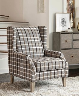 Traditional Neutral Brown Accent Chair