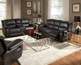 Lee Transitional Black Leather Reclining Sofa & Love