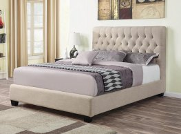 Chloe Oatmeal Upholstered Full Bed