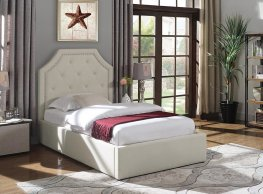 Hermosa Beige Upholstered Twin Bed