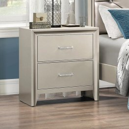 Lana Contemporary Silver Nightstand