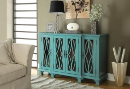 Transitional Teal Blue Accent Cabinet