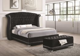 Barzini Black Upholstered Queen 5-Pc.