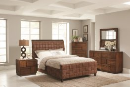 Gallagher Brown Upholstered King Bed