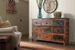 Industrial Reclaimed Wood Accent Cabinet