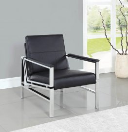 Contemporary Black and Chrome Accent Chair