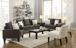 Bachman Transitional Grey Sofa & Love