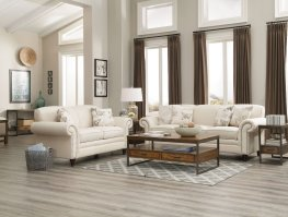 Norah Traditional White Sofa & Love