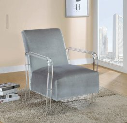 Modern Grey and Clear Accent Chair