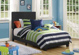 Dorian Black Faux Leather Twin Bed