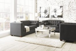 Cairns Transitional Charcoal Sofa & Love