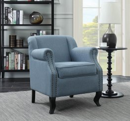 Traditional Light Blue Upholstered Accent Chair