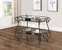 Traditional Dark Bronze and Capp. Serving Cart