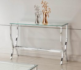 Contemporary Chrome Sofa Table