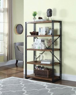 Rustic Weathered Wide Chestnut Bookcase