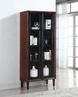 Rich Brown and Black Accent Cabinet
