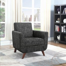 Mid-Century Modern Grey Upholstered Accent Chair