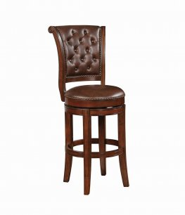 Traditional Warm Brown Swivel Bar Stool