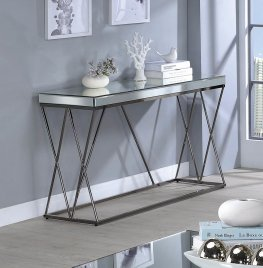 Contemporary Black Nickel Sofa Table